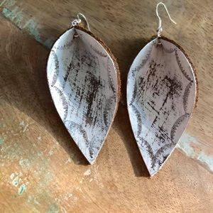 New! Handmade leather embossed earrings